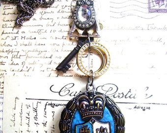 French Coat of Arms necklace-Free shipping-Double Sided Necklace-Cameo Vintage Key Necklace-memories necklace-s-shabby chic necklace