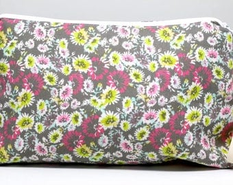 Gray And Neon Floral Medium Project Or Cosmetic Bag