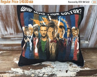 40% OFF- Dr Who Throw Pillow-Whos Your DR-Upcycled Eco Friendly-Quilted-