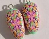 Pink Green Dagger Style Charm Handmade Artisan Polymer Clay Beads Pair