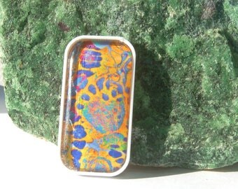 NEW Colorful Marbled Handmade Cabochon Pendant Primary Colors Bead Embroidery, Pin Brooch Making or Embellishing Original Art