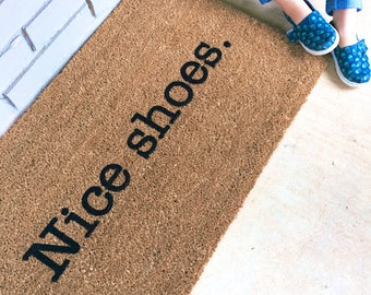Nice shoes. Natural CoCo Modern Welcome Mat Custom Doormat