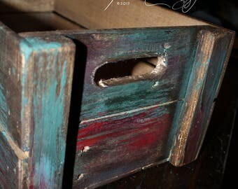 Pet bed Hand-made Painted & distressed  Very vintage colors Great storage crate pet cat or small dog bed