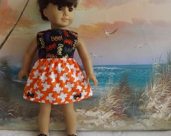 "Fits Like American Girl Halloween Dress 18"" Doll Dress Ghost Orange and Black with Trick or Treat Bag"