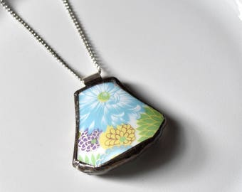 Broken China Jewelry Pendant - Blue Yellow Green and Purple Floral