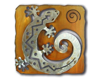 Gecko Lizard Cut Out Southwest Wall Art - C Shaped - Brown Rust and silver Finish