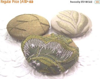 CLEARANCE - Olive green buttons, fabric covered buttons , embroidered buttons, size 75 buttons