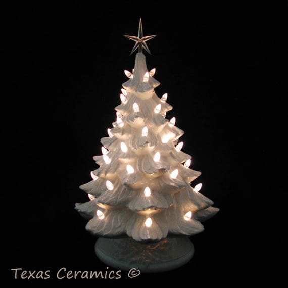 winter white ceramic christmas tree clear lights large 18 inch tall electric tabletop tree made to order - Christmas Tree Made Of Lights