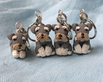 Miniature Dog, Tiny Dog, Miniature Schnauzer, Stitch Markers, Dog Lover Gift, Knitting Notions, Crochet Notions, Knitting Accessories, Set 4