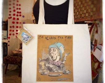 Mad Hatter Tea Time canvas Cotton Tote Reusable Shopping Bag Book Bag Grocery Bag Lunch Bag Beach Bag Travel Bag, Purse