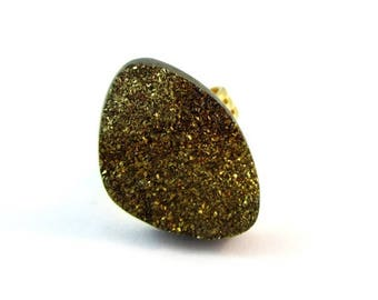 CIJ SALE Gold Pyrite Druzy Ring,  Adjustable Gold Plated Band, Pyrite Sparkle Ring,