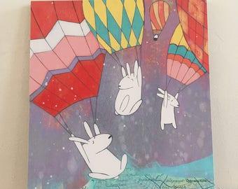 "Hello Brooklyn - 8""x10"" Mounted print (New York, Brooklyn, Illustration, hot air balloons, bunnies, map art)"