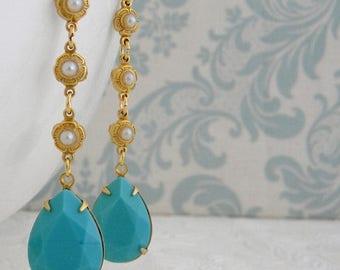 SALE Turquoise Pearl Vintage Art Deco Rhinestone Earrings