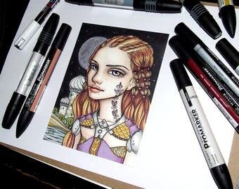 Tahira - original pen and ink illustration by Tanya Bond Eastern Warrior princess