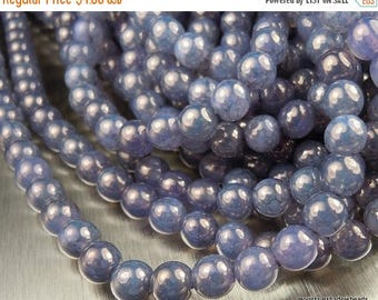 25% OFF Sale 6mm Czech Beads Pressed Glass Round - Milky Amethyst Picasso Luster 50 pcs (G - 415)