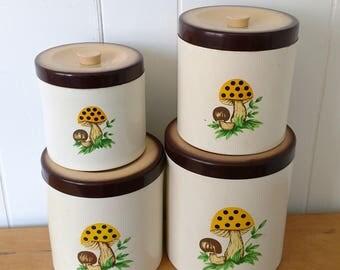 vintage mushroom canisters 1979 Sears Roebuck made in Japan