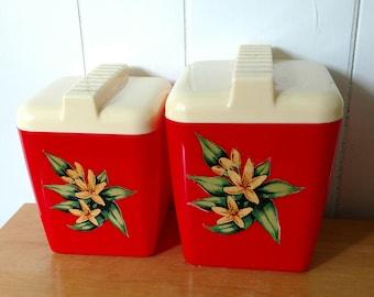 vintage red Burrite canister set