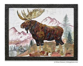 Rocky Mountain Sentinel Large Moose Paper Collage