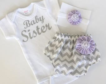 Baby sister OUTFIT... grey chevron and lavender polka dots diaper cover and sparkle silver baby sister onesie set... new baby