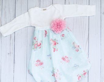 shabby chic aqua and rose print baby gown...new baby -- baby shower