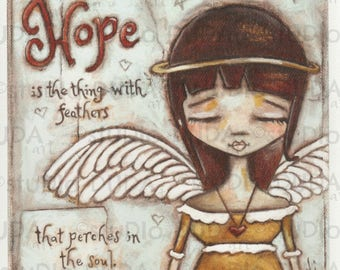 Print of my Original Inspirational Motivational Mixed Media Angel Painting - Angel of Hope