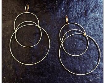 Lightweight Brass Circle Hoop Earrings - Statement Earrings - Oversized - Large Hoop Earrings - minimalist -