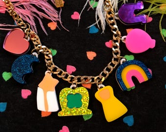 Lucky Charms Laser Cut Acrylic Charm Necklace
