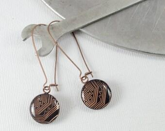 Circuit Board Earrings Copper, Copper Dangle Earrings, Wearable Technology, Engineer Gift, Industrial Chic Jewelry, Techie Jewelry Geek Gift