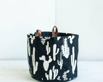 Large Bucket—Cactus Print On Black