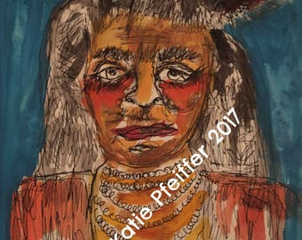 Original Native American portrait pen and ink painting