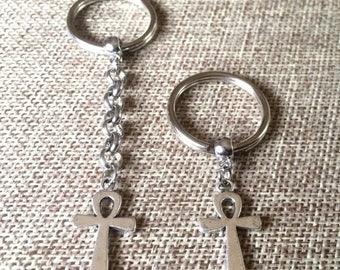 SUMMER SALE Silver Ankh Keychain Key Ring or Zipper Pull - Egyptian Key chain - Egyptian Zipper Pull
