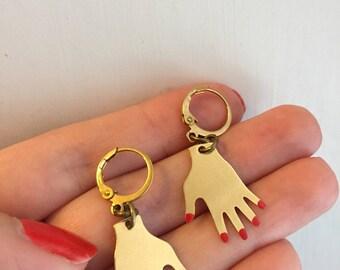 Helping hand brass earrings