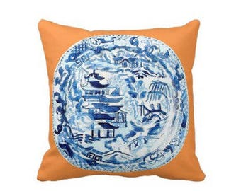 CHINOISERIE PLATE Pillow 4 sizes -  (indoor and outdoor fabrics)