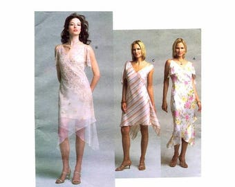 SALE Asymmetrical Hem Dress and Slip Vogue 2797 NY Collection Sewing Pattern Size 6 - 8 - 10 Bust 30 1/2 - 31 1/2 - 32 1/2 Uncut