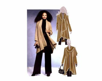 McCalls 5987 Misses Scarf Collar Coat Sewing Pattern Size 8 - 10 - 12 - 14 Bust: 31 1/2 - 32 1/2 - 34 - 36 UNCUT