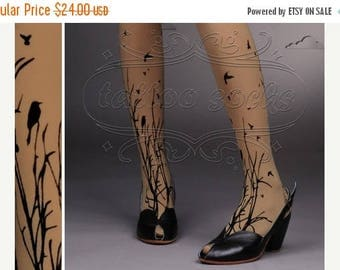 30%off/endsJUL23/ fabulous FOREST SYMPHONY tattoo thigh-high nylons Cafe Latte