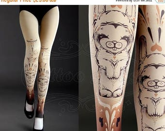 SALE///Happy2018/// NEW nude one size Bunnies full length footless printed tights pantyhose