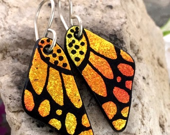 SMALL Butterfly Earrings Hand Etched Dichroic Glass Warm Autumn Orange & Sterling Silver