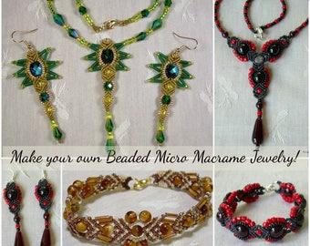 TUTORIALS - Beaded Micro Macrame Jewelry - Intermediate Collection - Vol 1
