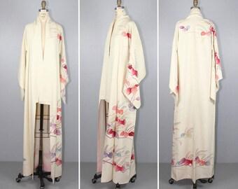 vintage kimono / silk robe / KEIKO / watercolor / hand-dyed 1950s kimono
