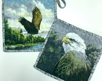 Eagles Pot Holders  Hot Pads Quilted Set of Two Cabin Rustic Woodland Kitchen Cooking