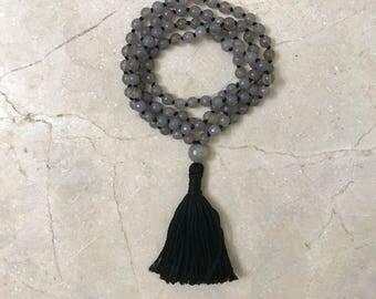 Mala- Agate Mala, Faceted Mala, Tassel Necklace, Yoga, Meditation