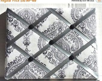 July 4th Sale Black And Gray Damask Memory Board French Memo Board, Fabric Ribbon Memo Bulletin Board, Ribbon Pin Board, Fabric Photo Board,