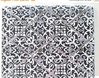 Christmas In July 30% Off Black Gray Paisley Damask Memory Board French Memo Board,Fabric Ribbon Bulletin Board,Fabric Photo Board,Ribbon Pi