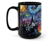 Castle Art Mug - black ceramic coffee cup van Gogh Never Saw Hogwarts by Aja colorful starry night artwork drinkware