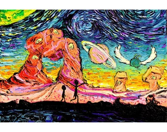 Rick and Morty Art - 24x36 horizontal Starry Night print van Gogh Never Saw Another Dimension Aja 8x8, 10x10, 12x12, 20x20, and 24x24 inches