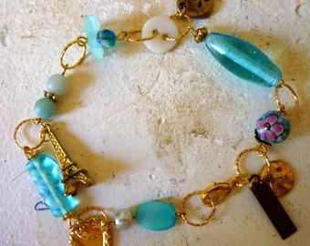 Dream Charm Amazonite Bead Bracelet Aqua Blue