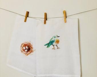 bird and nest tea towel set, kitchen towel, kitchen art, flour sack, hostess gift,