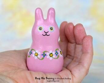 Handmade Bunny Rabbit Figurine, Miniature Sculpture, Mauve Pink Floral, Hug Me Bunny, Animal Charm Figure with Flowers, Personalized Tag