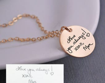 Custom Handwriting Necklace, Gold Handwriting Jewelry, Personalized Gift for Christmas